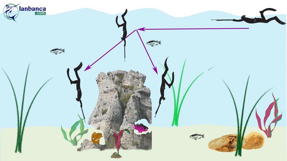 Sơ đồ áp dụng kỹ thuật bắn cá trong hang.